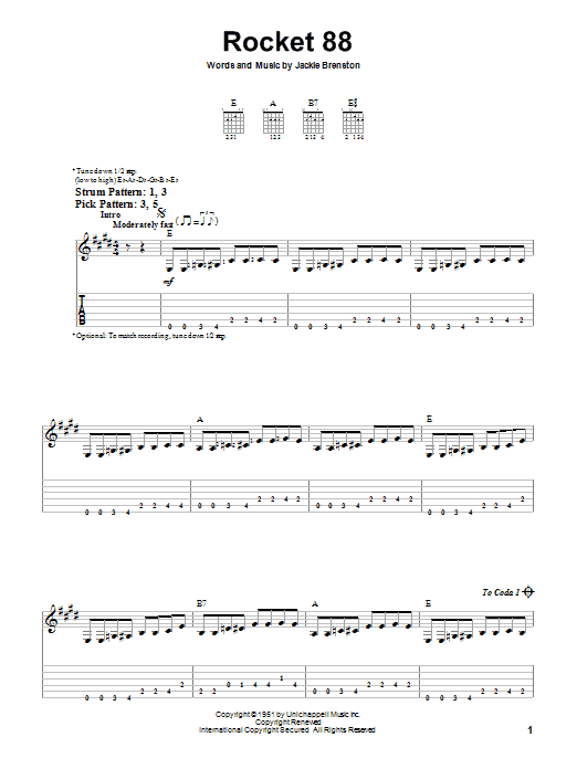 Tablature guitare Rocket 88 de Jackie Brenston - Tablature guitare facile