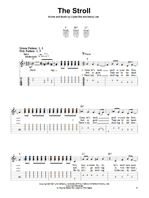 Tablature guitare The Stroll de The Diamonds - Tablature guitare facile