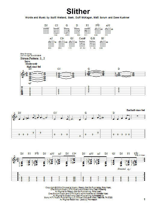 Slither (Easy Guitar Tab)
