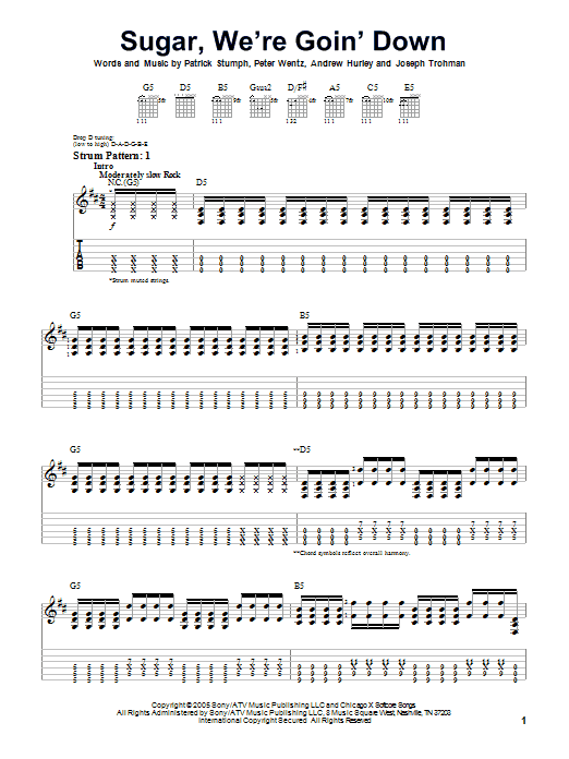 Tablature guitare Sugar, We're Goin' Down de Fall Out Boy - Tablature guitare facile