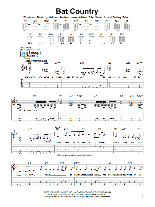 Bat Country sheet music by Avenged Sevenfold (Easy Guitar Tab u2013 72815)