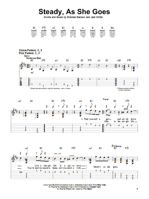 Steady, As She Goes by The Raconteurs - Easy Guitar Tab - Guitar ...