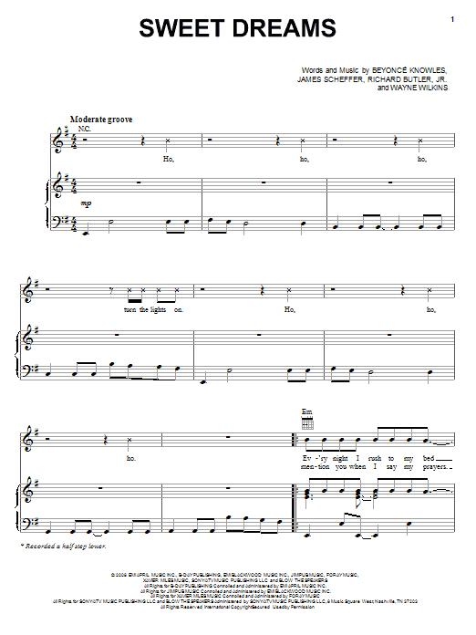 Partition piano Sweet Dreams de Beyonce - Piano Voix Guitare (Mélodie Main Droite)