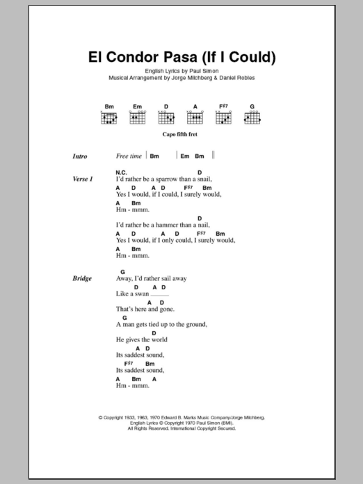 El Condor Pasa (If I Could) - Sheet Music to Download