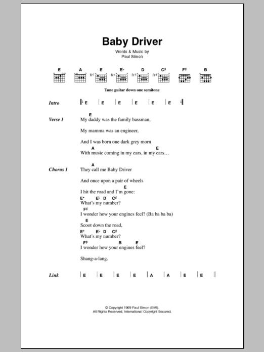 Baby Driver By Simon Garfunkel Guitar Chordslyrics Guitar