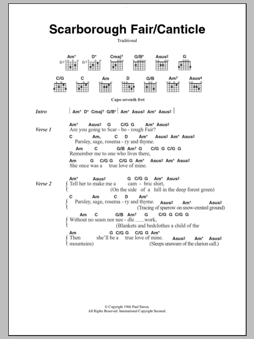 Scarborough Fair/Canticle by Simon & Garfunkel - Guitar Chords ...