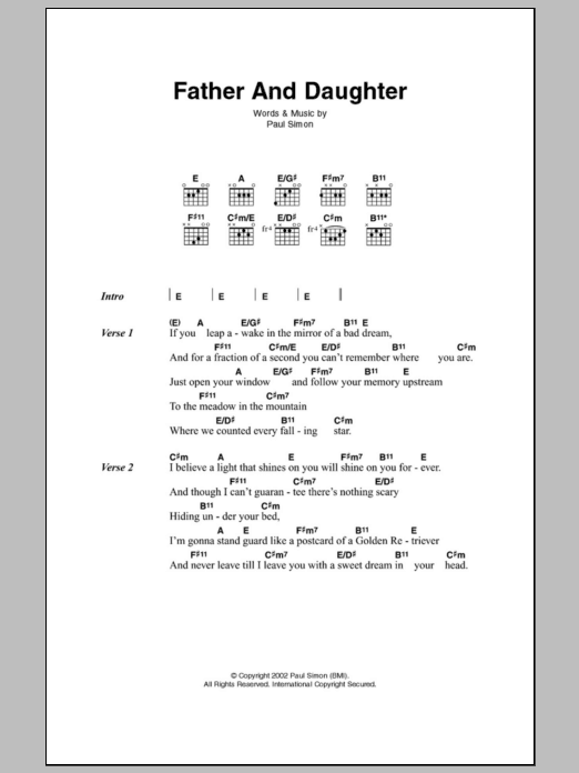 Father And Daughter by Paul Simon - Guitar Chords/Lyrics - Guitar ...