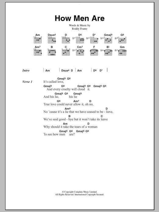 How Men Are Sheet Music