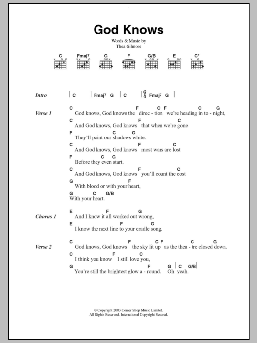 God Knows By Thea Gilmore Guitar Chords Lyrics Guitar