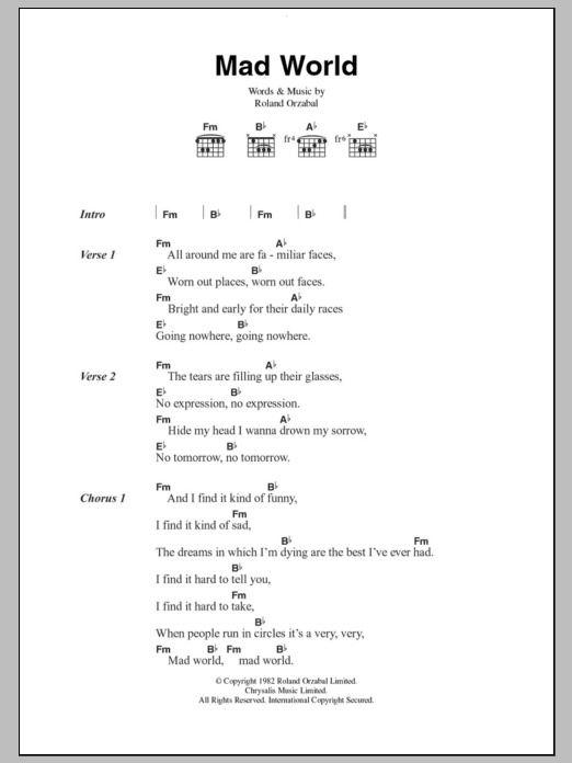 Mad World by Tears For Fears - Guitar Chords/Lyrics - Guitar Instructor