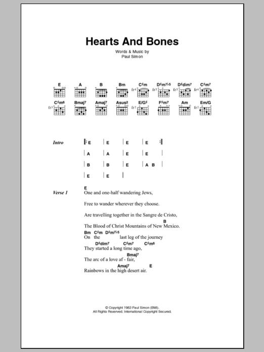 Hearts And Bones Sheet Music