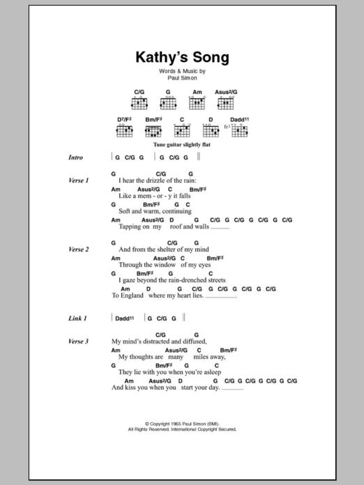 Kathys Song By Simon Garfunkel Guitar Chordslyrics Guitar