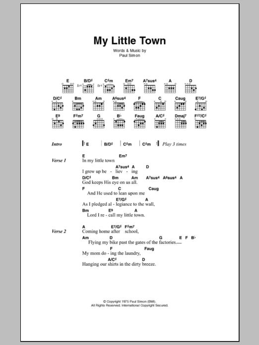 My Little Town Sheet Music Simon Garfunkel Lyrics Chords