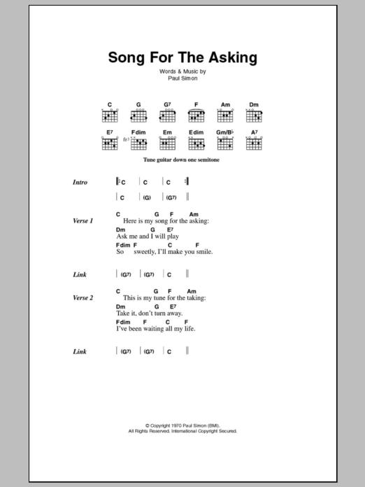 Song For The Asking By Simon Garfunkel Guitar Chordslyrics