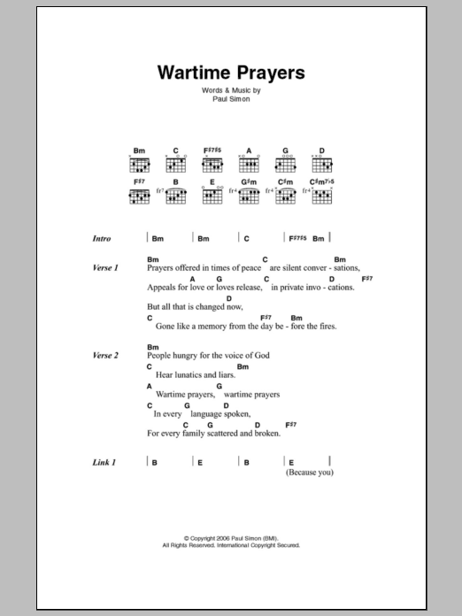Wartime Prayers by Paul Simon - Guitar Chords/Lyrics - Guitar Instructor