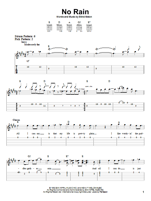 No Rain Chords Images Chord Guitar Finger Position