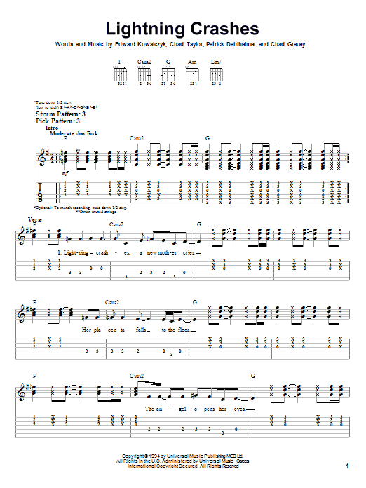 Lightning Crashes by Live - Easy Guitar Tab - Guitar Instructor