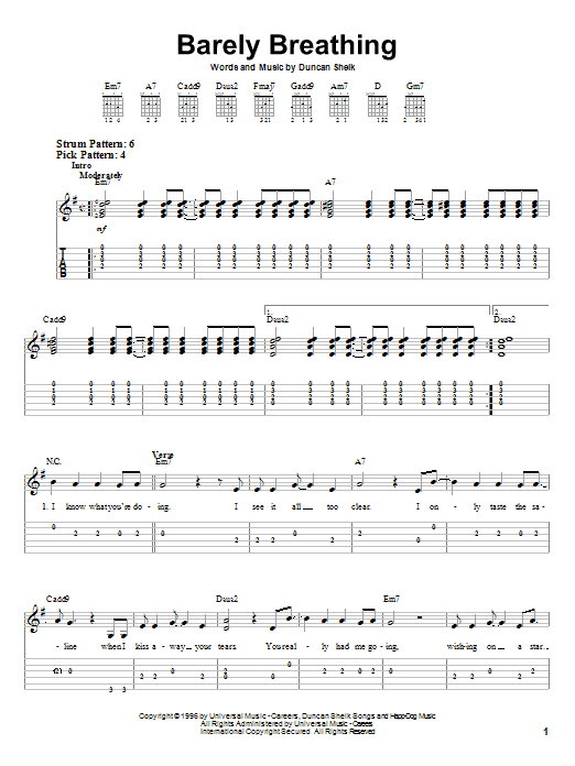 Tablature guitare Barely Breathing de Duncan Sheik - Tablature guitare facile