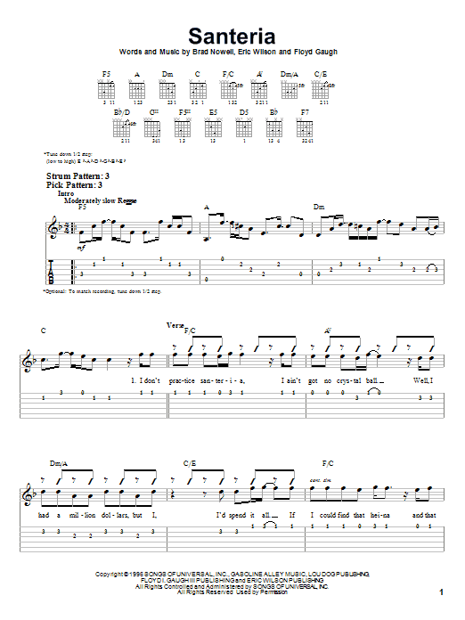 Santeria By Sublime Easy Guitar Tab Guitar Instructor