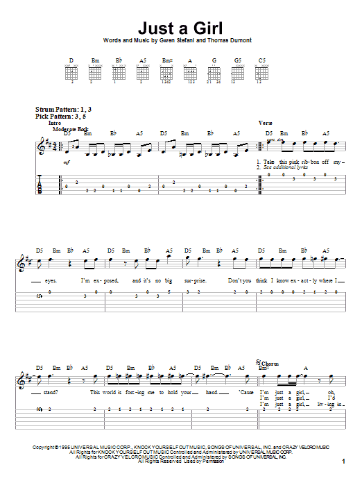 Tablature guitare Just A Girl de No Doubt - Tablature guitare facile