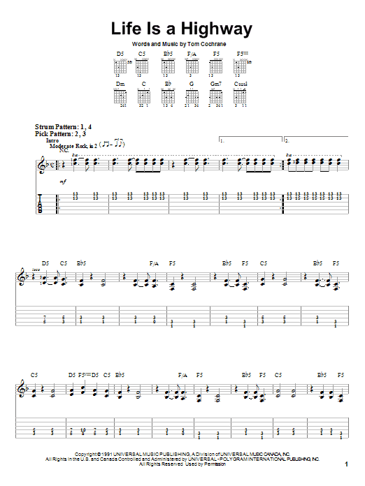 Tablature guitare Life Is A Highway de Tom Cochrane - Tablature guitare facile