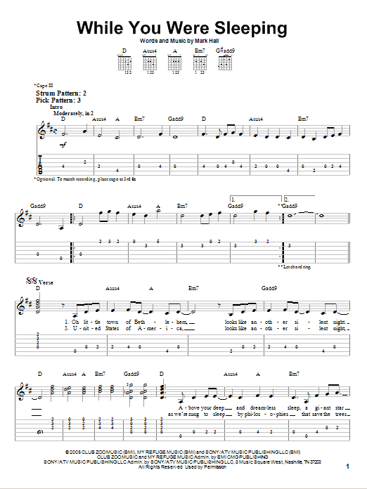 While You Were Sleeping (Easy Guitar Tab)