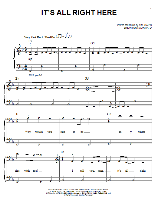 It's All Right Here Sheet Music