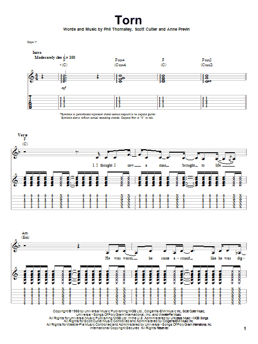 Tablature guitare Torn de Natalie Imbruglia - Autre