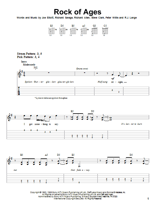 Tablature guitare Rock Of Ages de Def Leppard - Tablature guitare facile