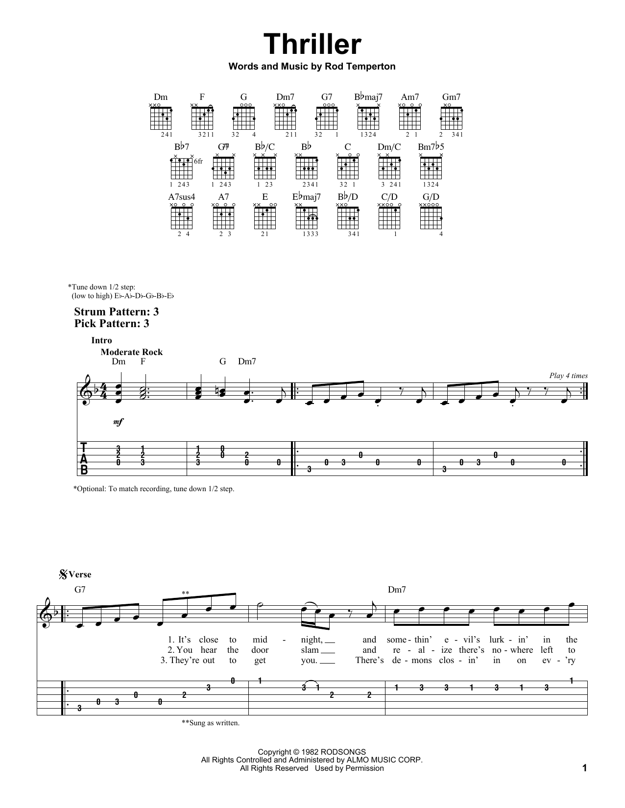 Thriller By Michael Jackson Easy Guitar Tab Guitar Instructor