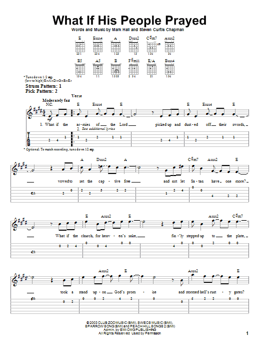 Tablature guitare What If His People Prayed de Casting Crowns - Tablature guitare facile