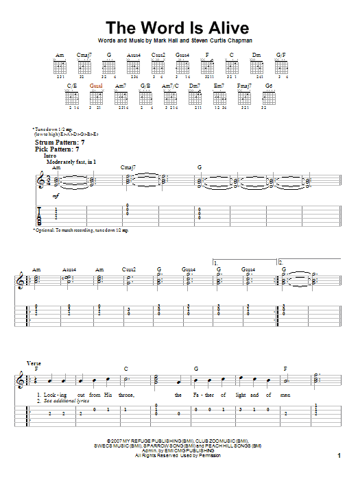 Tablature guitare The Word Is Alive de Casting Crowns - Tablature guitare facile