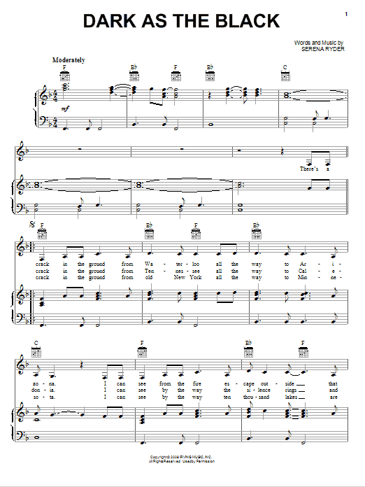 Dark As The Black (Piano, Vocal & Guitar (Right-Hand Melody))