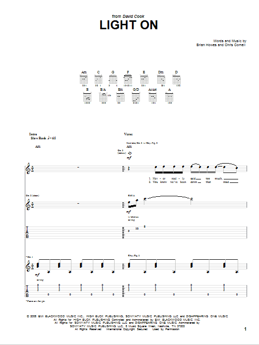 Tablature guitare Light On de David Cook - Tablature Guitare