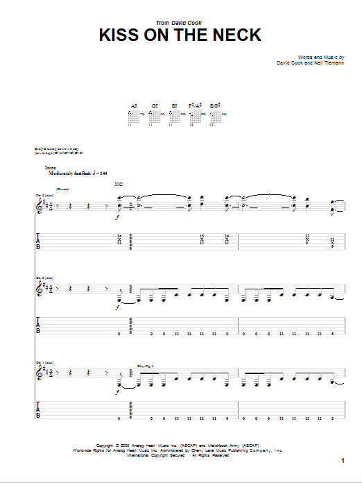 Tablature guitare Kiss On The Neck de David Cook - Tablature Guitare
