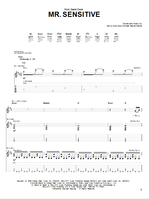 Tablature guitare Mr. Sensitive de David Cook - Tablature Guitare