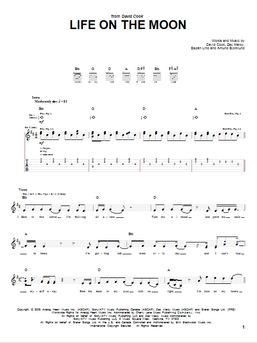 Life On The Moon (Guitar Tab)