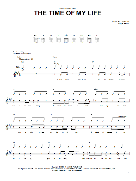 Tablature guitare Time Of My Life de David Cook - Tablature Guitare