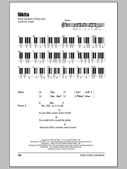Nikita (Piano Chords/Lyrics)