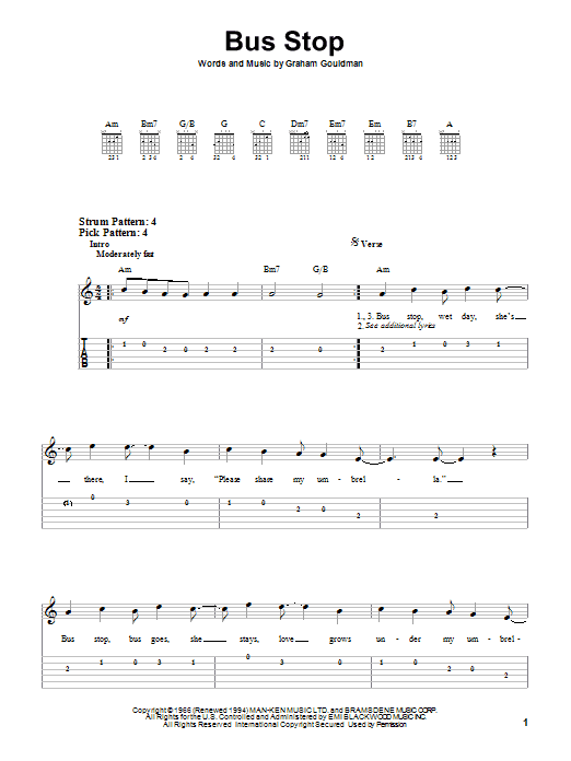 Bus Stop Sheet Music