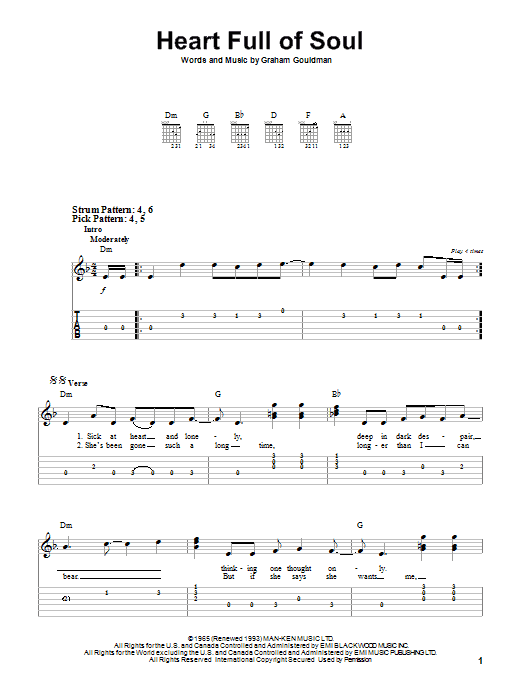 Tablature guitare Heart Full Of Soul de The Yardbirds - Tablature guitare facile