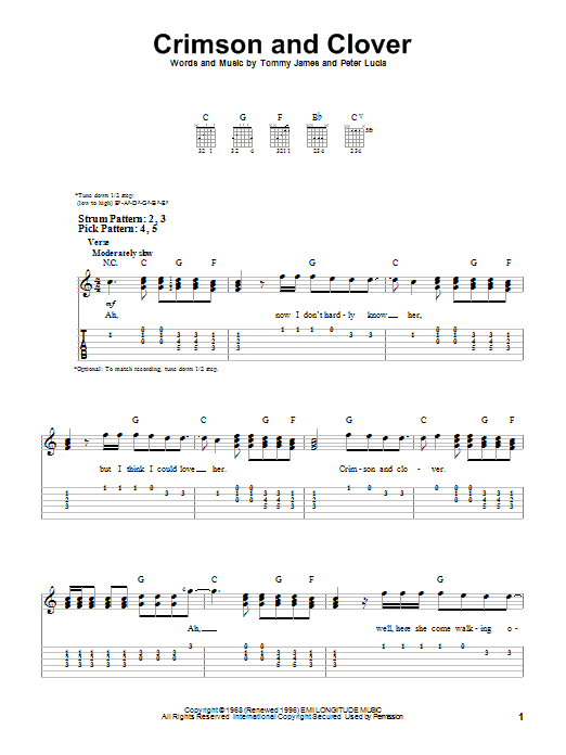 Tablature guitare Crimson And Clover de Tommy James & The Shondells - Tablature guitare facile