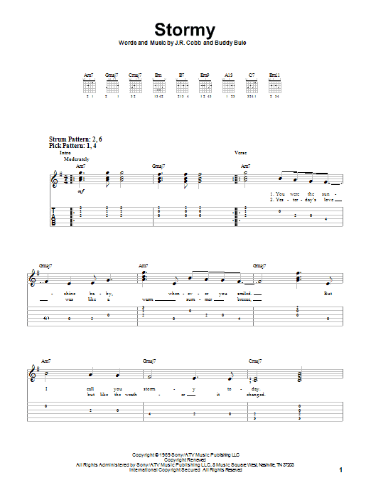 Stormy By Classics Iv Easy Guitar Tab Guitar Instructor