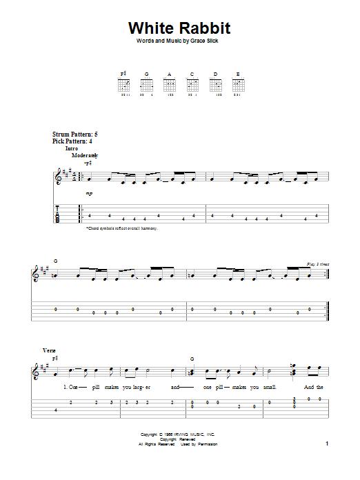 Tablature guitare White Rabbit de Jefferson Airplane - Tablature guitare facile