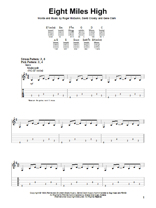 Tablature guitare Eight Miles High de The Byrds - Tablature guitare facile