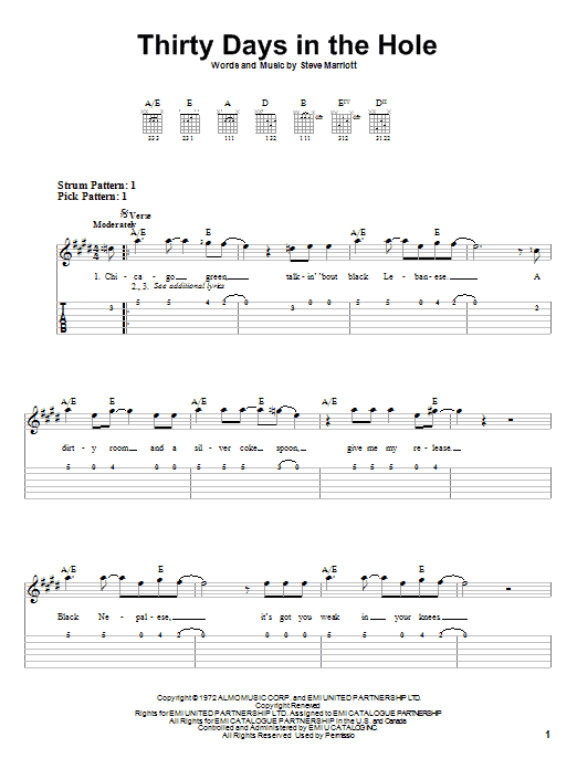 Thirty Days In The Hole (Easy Guitar Tab)