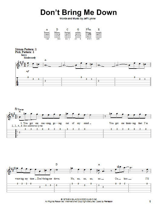 Don't Bring Me Down (Easy Guitar Tab)