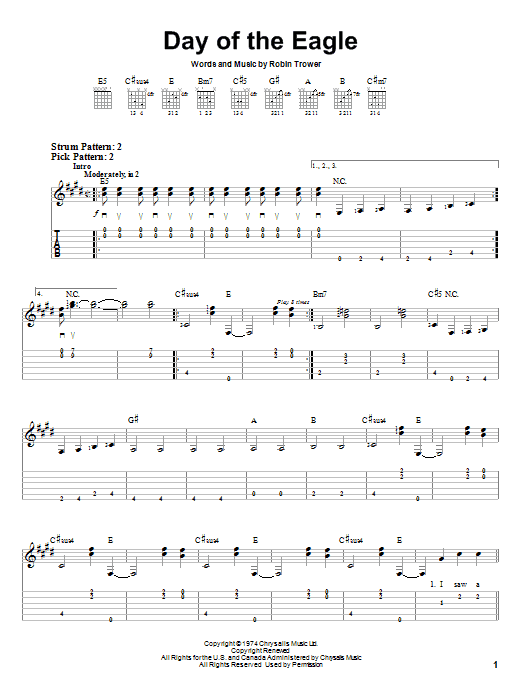 Tablature guitare Day Of The Eagle de Robin Trower - Tablature guitare facile