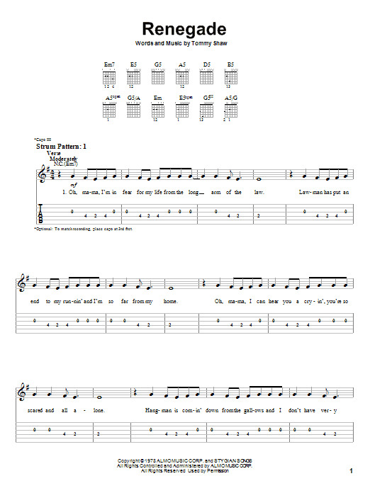 Renegade (Easy Guitar Tab)