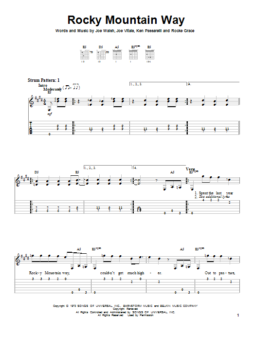 Tablature guitare Rocky Mountain Way de Joe Walsh - Tablature guitare facile